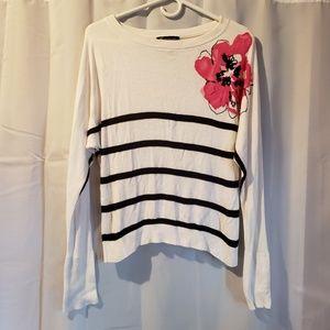 INC striped flower long sleeve sweater medium